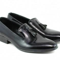 Pantofi barbati eleganti, negri din piele naturala - 036NLAC