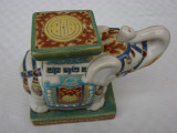 Cumpara ieftin Impresionant elefant din ceramica emailata - perioada interbelica