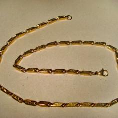 B214- Lant ceas buzunar barbat alama aurita cu zale dreptunghiulare.