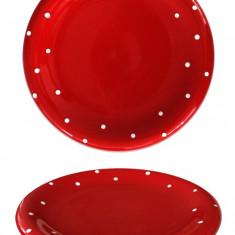 Farfurie din ceramica 20cm rosie cu buline Seramic