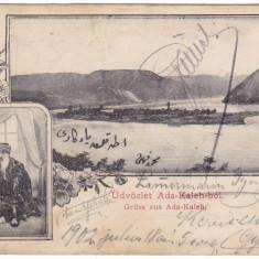 # 2321 - Salutari Ada Kaleh c.p. circulata 1902: Panorama, turc cu narghilea, Fotografie, Orsova