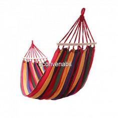Hamac Curcubeu Textil 1 Persoana 2x0.80m cu Bare Lemn 100Kg HM280