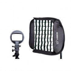 Softbox Visico 40x40cm cu grid honeycomb