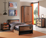 Cumpara ieftin Set Mobila dormitor din lemn de pin si MDF, pentru copii 5 piese Alex Natural / Negru, 200 x 90 cm