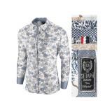 Camasa pentru barbati bej model floral flex fit casual premium Babilon