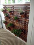 Pergola de perete din lemn masiv pentru ghivece, 200 x 200 cm, rezistenta la umezeala