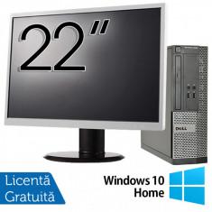 Calculator DELL 3010 SFF, Intel Core i5-3470 3.20GHz, 4GB DDR3, 500GB SATA, DVD-ROM + Monitor 22 Inch + Windows 10 Home