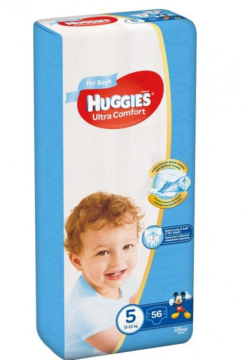 Scutece Huggies Ultra Confort Mega Pack 5, Baieti, 12-22 kg, 56 buc