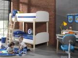 Pat etajat din lemn de pin si MDF, pentru copii Kiddy Alb, 200 x 90 cm