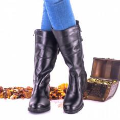 Cizme dama negre din piele naturala cu catarama - NA215, 35 - 40, Negru