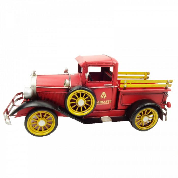 Decoratiune in forma de camion de colectie din metal vintage 40 cm rosu galben