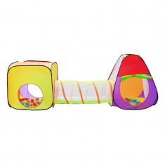 Cort Si Spatiu De Joaca Pentru Copii, 3 In 1, 200 Bile Colorate