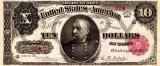 10 dolari 1890 Reproducere Bancnota USD , Dimensiune reala 1:1