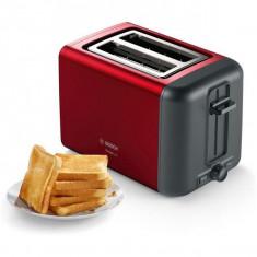 Prajitor de paine Bosch DesignLine TAT3P424, 970 W, 2 felii, Rosu