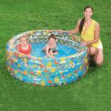 Piscina rotunda gonflabila pentru copii, diametru 150 cm, inaltime 53 cm, 3 inele, capacitate 445l, design vesel