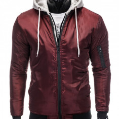Jacheta pentru barbati din fas, slim fit, pieptar cu gluga detasabile, visiniu - C197