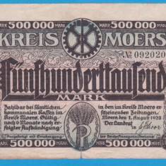 (1) BANCNOTA (GROSSNOTGELD) GERMANIA - KREIS MOERS - 500.000 MARK 1923, EDITIA 1