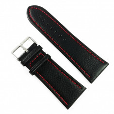 Curea de ceas Neagra din piele naturala si cusatura rosie - 28mm, 30mm, 32mm, 34mm - WZ3410