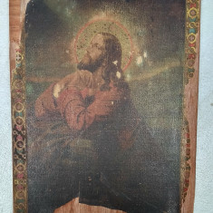 Icoana litografie veche romaneasca ptr. colectie sau restaurare