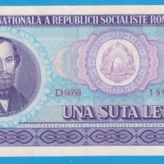 (9) BANCNOTA ROMANIA - 100 LEI 1966, PORTRET NICOLAE BALCESCU. STARE FOARTE BUNA