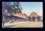 GARA DIN MISKOLCZ , CARE POSTALA ILUSTRATA , POLICROMA, CIRCULATA , DATATA 1916