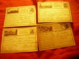 Set 4 Carti Postale ilustrate Carol II : Sonde ,Ocna Sibiu ,Rasnov ,Calimanesti