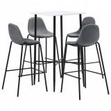 Set mobilier de bar, 5 piese, gri, material textil, vidaXL