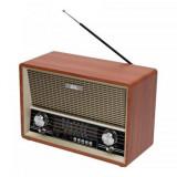 Cumpara ieftin Radio portabil retro SAL, RRT4B, 4 functii, BT cu MP3 cu AUX cu 4 benzi, telecomanda, Maro
