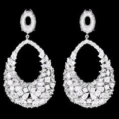 Cercei placati cu Aur 18K si Diamante, Chrystal Platinum