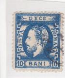 ROMANIA 1871 LP 36  CAROL I CU  BARBA  10  BANI ALBASTRU  POINCON L. PASCANU