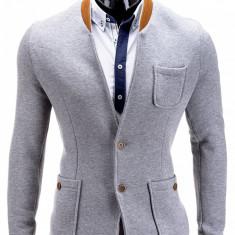 Sacou pentru barbati gri deschis casual slim fit cu buzunare aplicate elegant inchidere doi nasturi stil jacheta M07