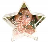 Glob foto stea cu zapada personalizat, 9.6×4.5×9.3 cm, fotografie inclusa