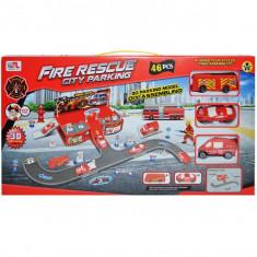 Parcare + masini pompieri + accesorii, 46 piese/cutie
