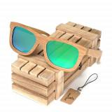 Ochelari de soare din lemn Bobo Bird BG003, lentila verde Wooden Lux