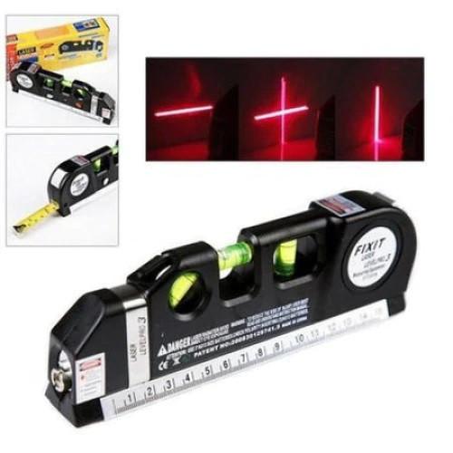Nivela Laser cruce, orizontal si vertical, boloboc 3 bule, ruleta 2.5m si rigla aluminiu 15cm, multifunctionala 4 in 1 Laser, All in one