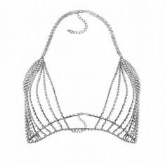 Sutien transparent cu cristale, Gonga, universal, argintiu