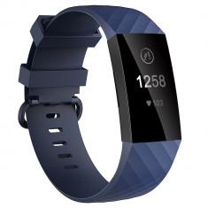 Curea Bratara Edman pentru Fitbit Charge 3, marimea L, Albastru inchis