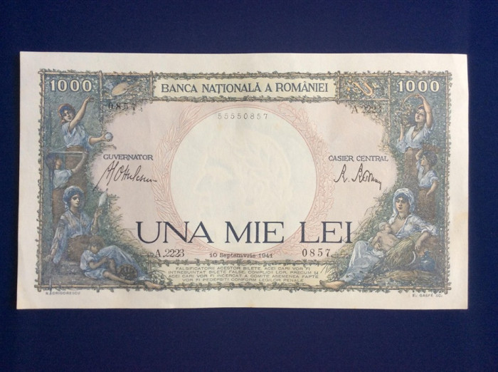 Bancnote România - 1000 lei 10 septembrie 1941-seria 0857 (starea care se vede)