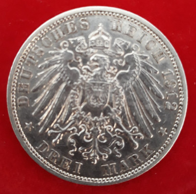 Moneda argint Germania - 3 MARK 1912 foto
