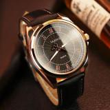 Ceas cu Quartz barbatesc, elegant, cu bratara din piele, ceas de mana business pentru barbati