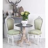 Scaun baroc din lemn masiv alb cu tapiterie din matase verde, Scaune