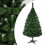 Brad de Craciun artificial, aspect pin canadian cu varfuri ninse, inaltime 180 cm, verde, ProCart