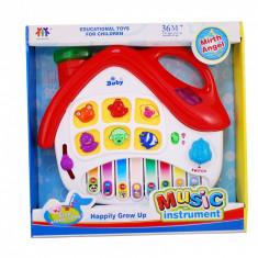 Pianina pentru copii - model casuta - jucarie cu sunete si lumini