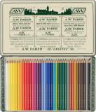 Creioane Colorate Faber-Castell Polychromos 111 Ani, 36 culori, cutie metal