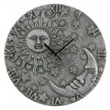Ceas de perete din teracota Soare, Luna si Stele - argintiu