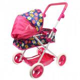 Carucior de jucarie pentru papusi, landou pliabil, maner ajustabil, rezistent, roz - FL81371BLM