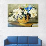 Tablou Canvas, Vaza cu Flori Albe - 20 x 25 cm