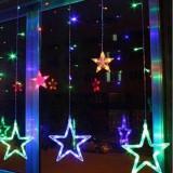 Instalatie Craciun,perdea,fulgi si stele,joc de lumini multicolor,3 m Autentic HomeTV
