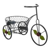 Suport pentru ghivece, 18 x 38 cm, tip bicicleta, model floral, Oem