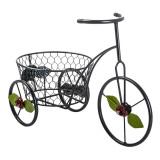 Suport pentru ghivece, 28 x 38 cm, tip bicicleta, model floral